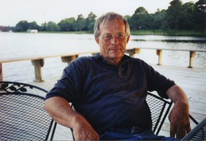 Charles Ellison on his boat dock at Camp Creek Lake